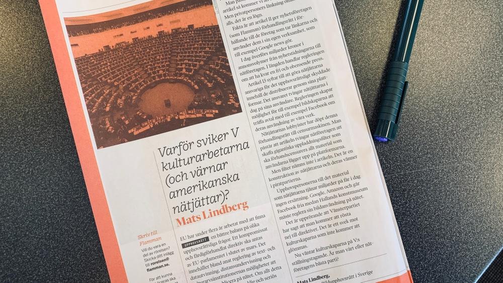 Mats Lindberg, VD för bildupphovsrätt, skriver i Flamman: Varför sviker V kulturskaparna?