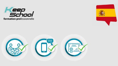 Représentation de la formation : Espagnol : Certification PIPPLET FLEX : cours particuliers en face à face à domicile (20h) + e-learning