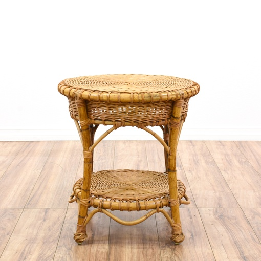 Woven 2 Tier Rattan Side Table Loveseat Vintage