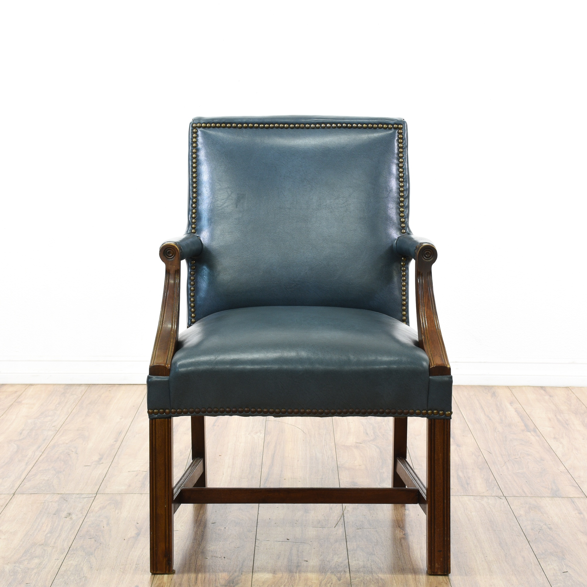 Teal Blue Vinyl Wood Carved Executive Chair Loveseat