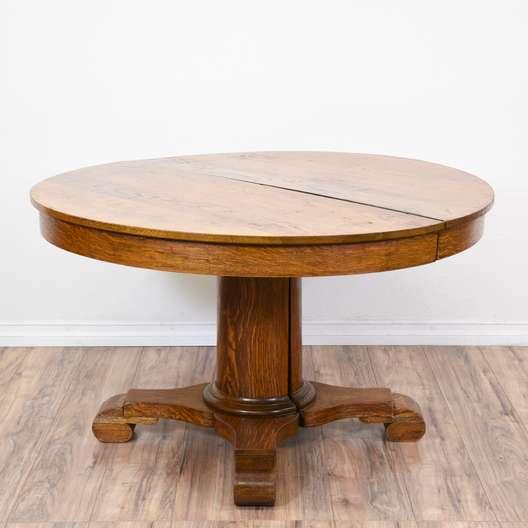 Rustic Tiger Oak Pedestal Dining Table