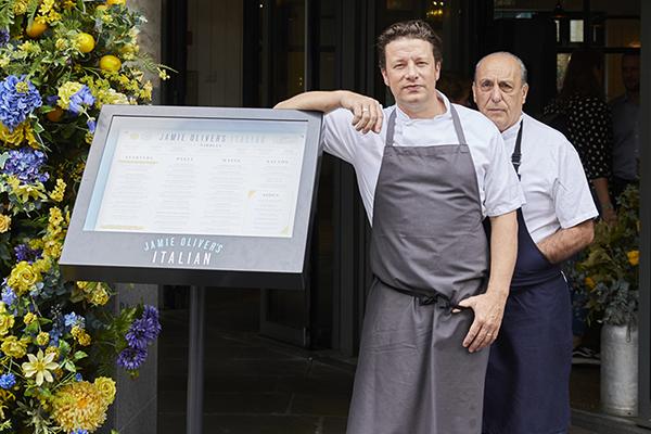 Jamie Oliver with Gennaro Contaldo
