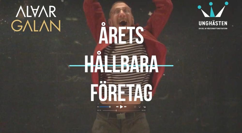 UngHästen utsågs till Årets hållbara företag vid Alvargalan 2021, Skellefteås näringslivsgala. Bild från UngHästens egen segerfilm. Bild: UngHästen.