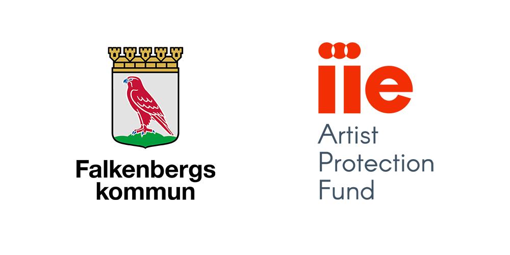 Logotyper för Falkenbergs kommun och IIE Artist Protection Fund.