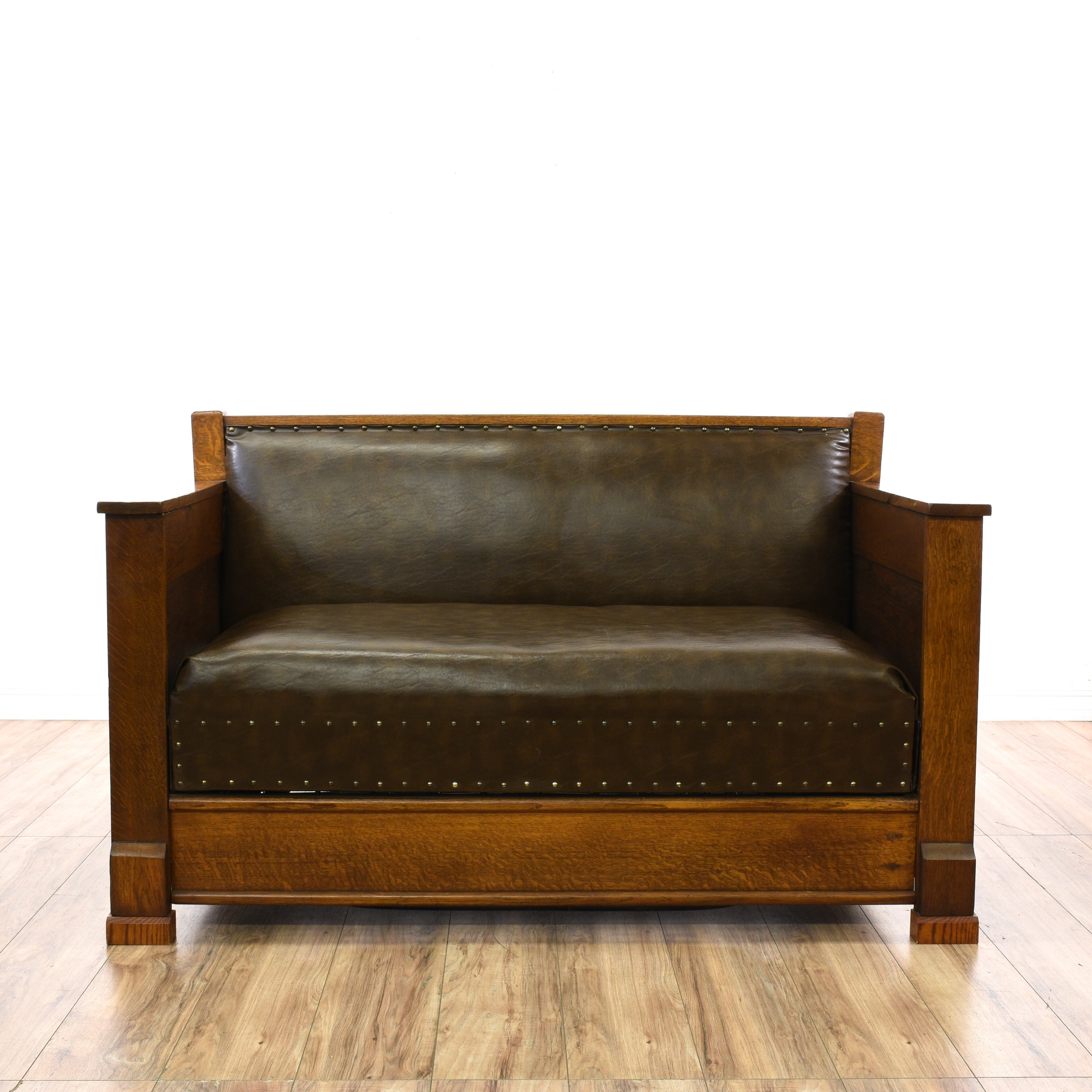 Mission Style Brown Leather Loveseat Sofabed Loveseat