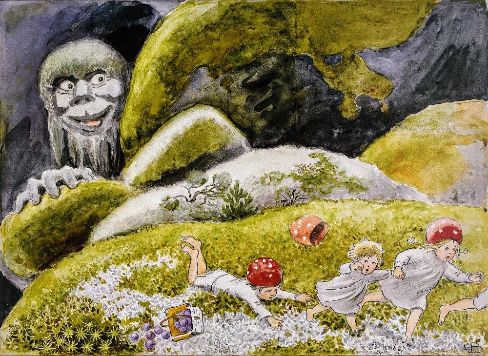 Illustration ur Elsa Beskows bok Tomtebobarnen. © Elsa Beskow