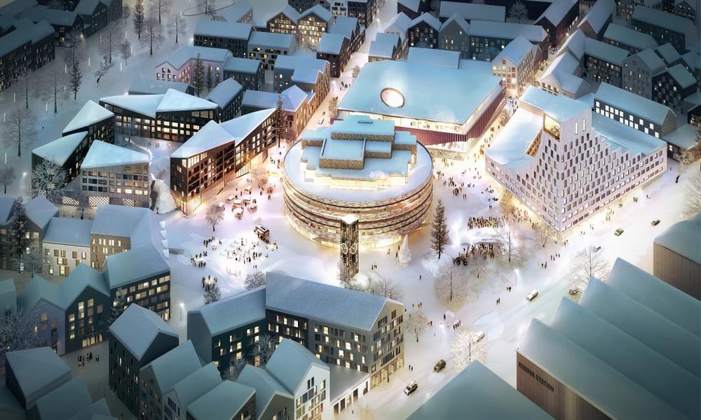 Kiruna. Kjellander Sjöberg. Visualisering av Kirunas nya stadskärnan som inkluderar det nya stadshuset, kulturcentret, bostäder och rekreationsområden.