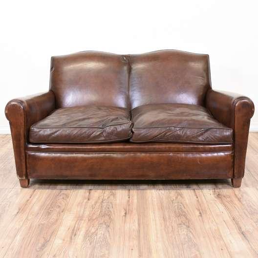Vintage Brown Leather Loveseat Sofa