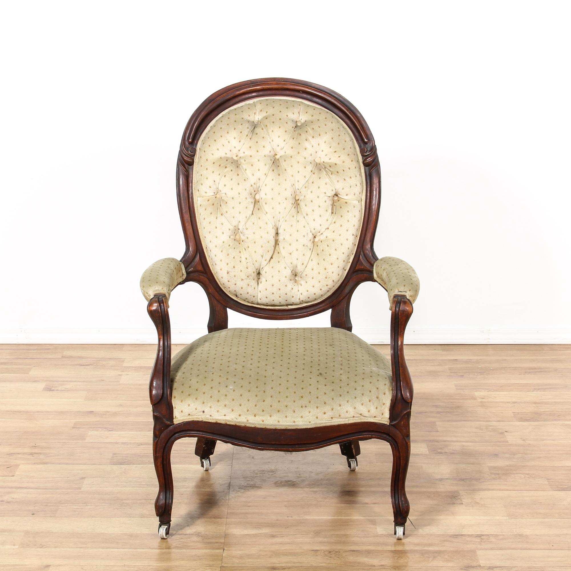 White Button Tufted Victorian Armchair Loveseat Vintage