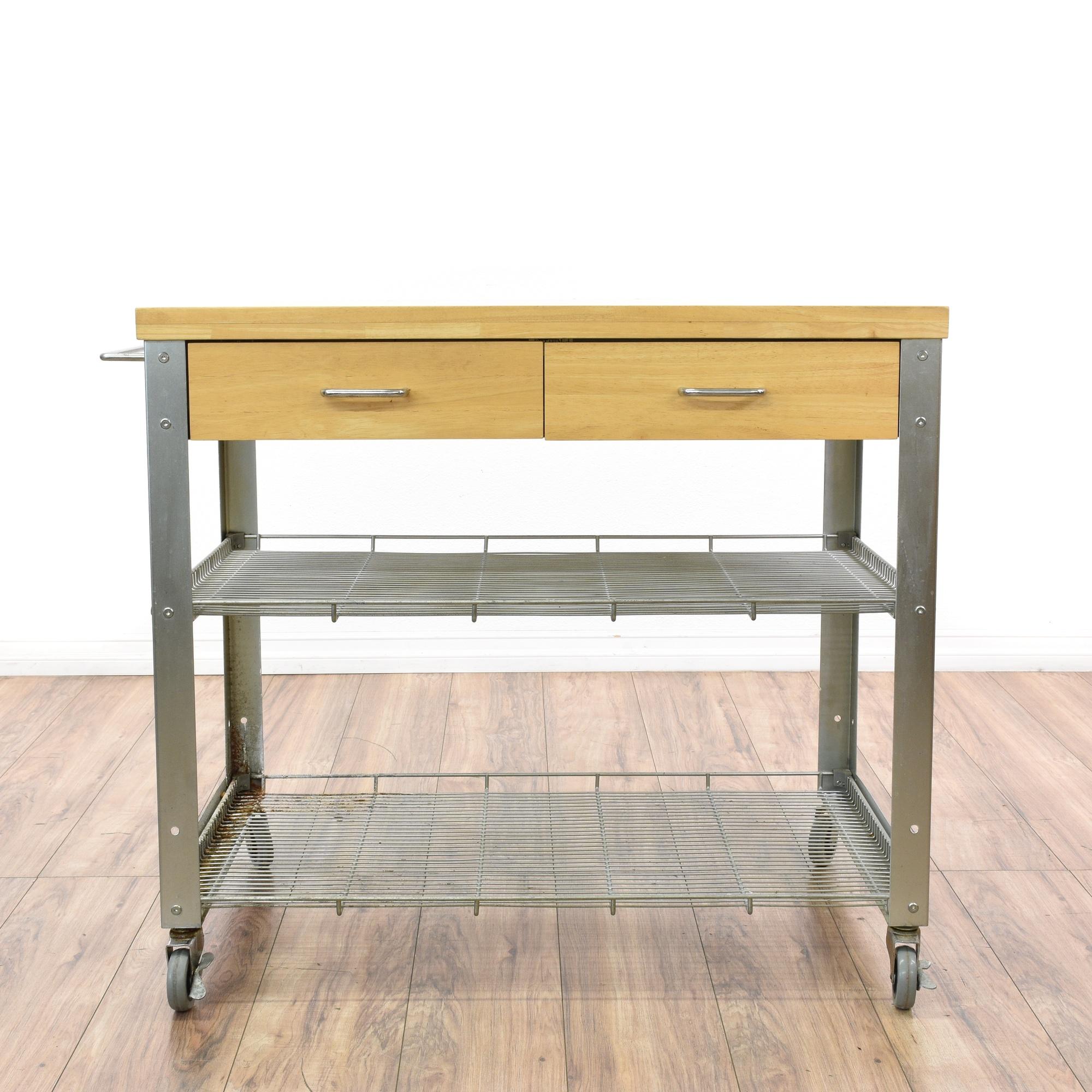 Rolling Stainless Steel Kitchen Island Cart Loveseat Vintage Furniture San Diego Los Angeles
