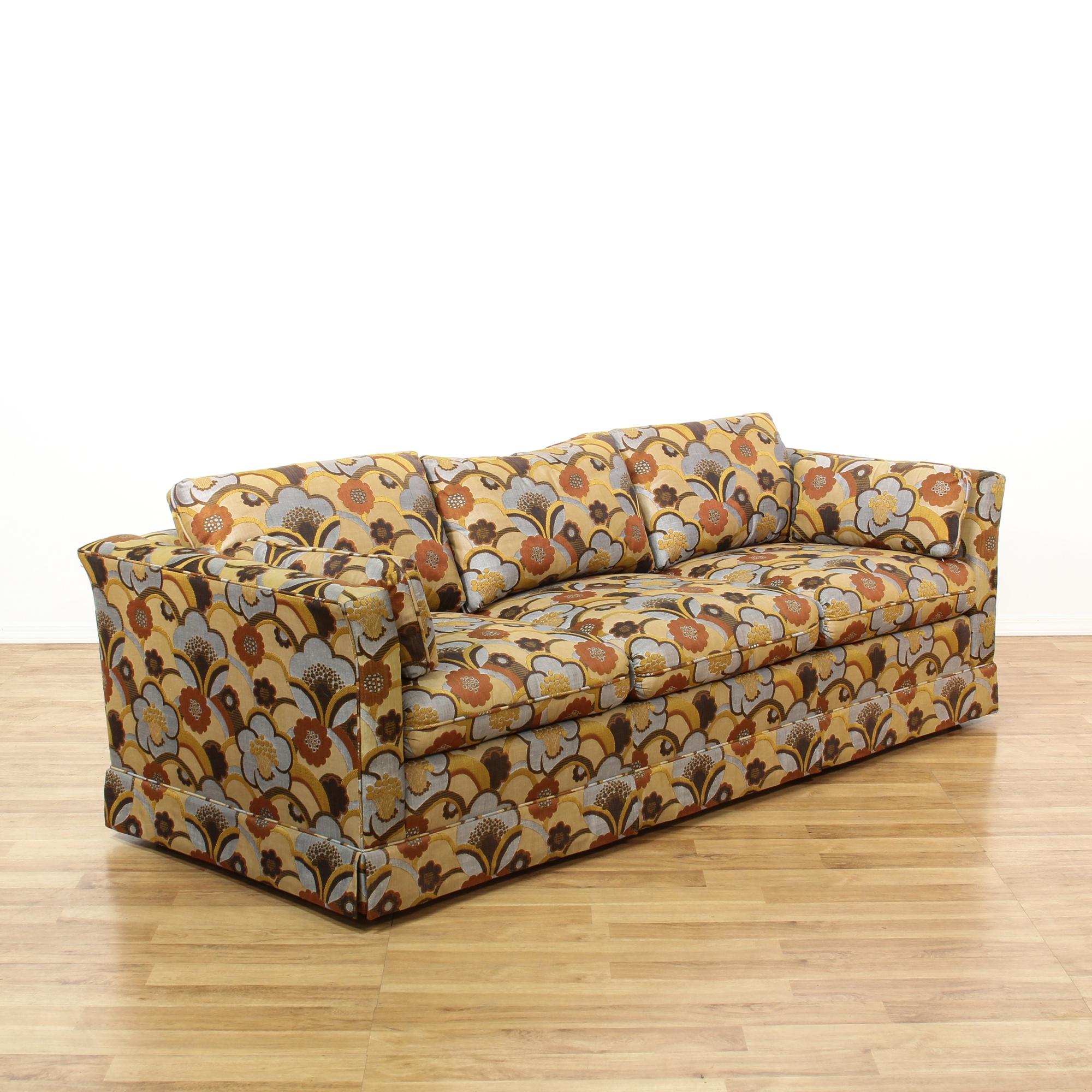 Mid Century Modern Blue Brown Floral Sofa Loveseat