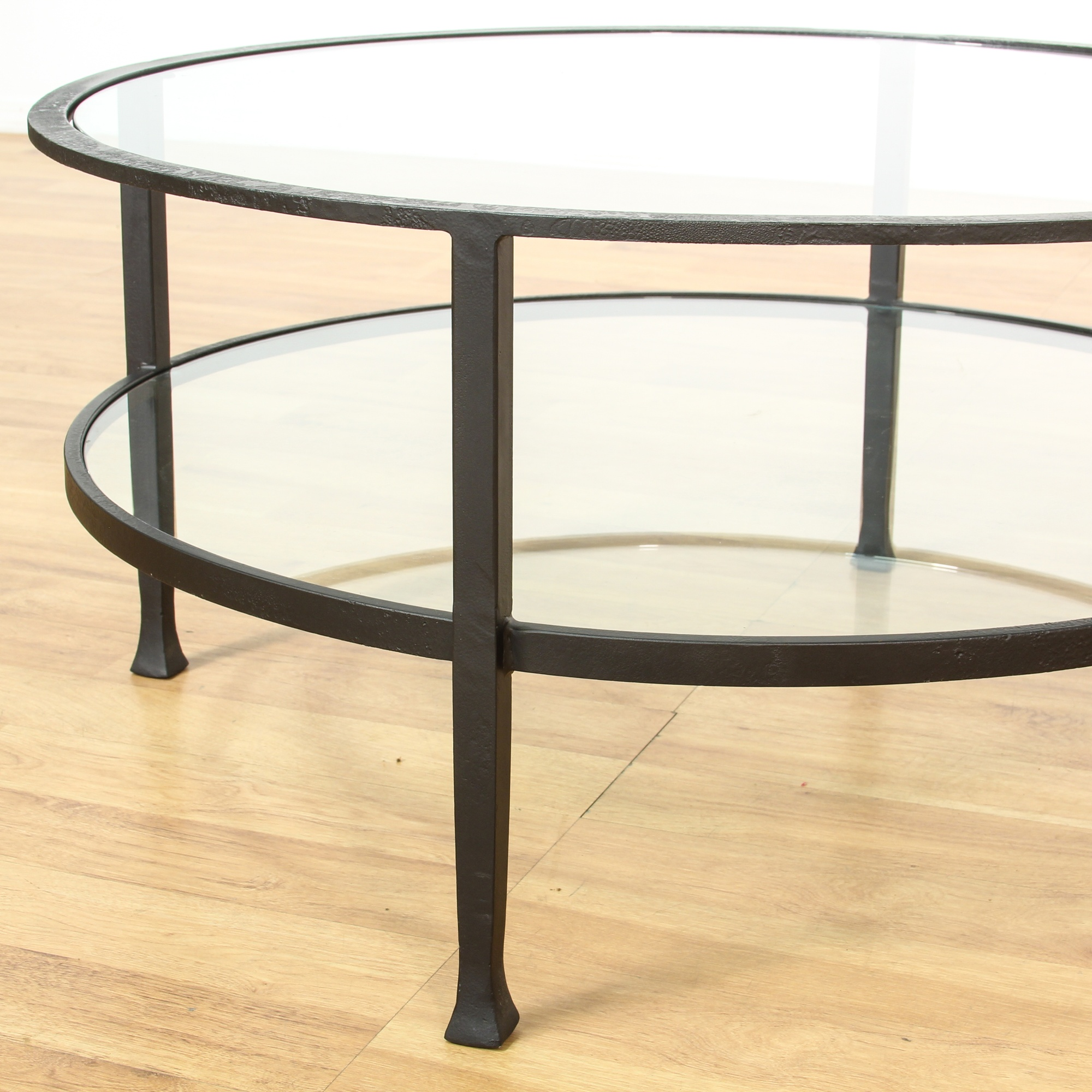 Round 2 Tier Iron Base Glass Coffee Table | Loveseat ...