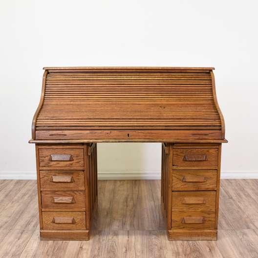 Large Honey Oak Roll Top Kneehole Desk
