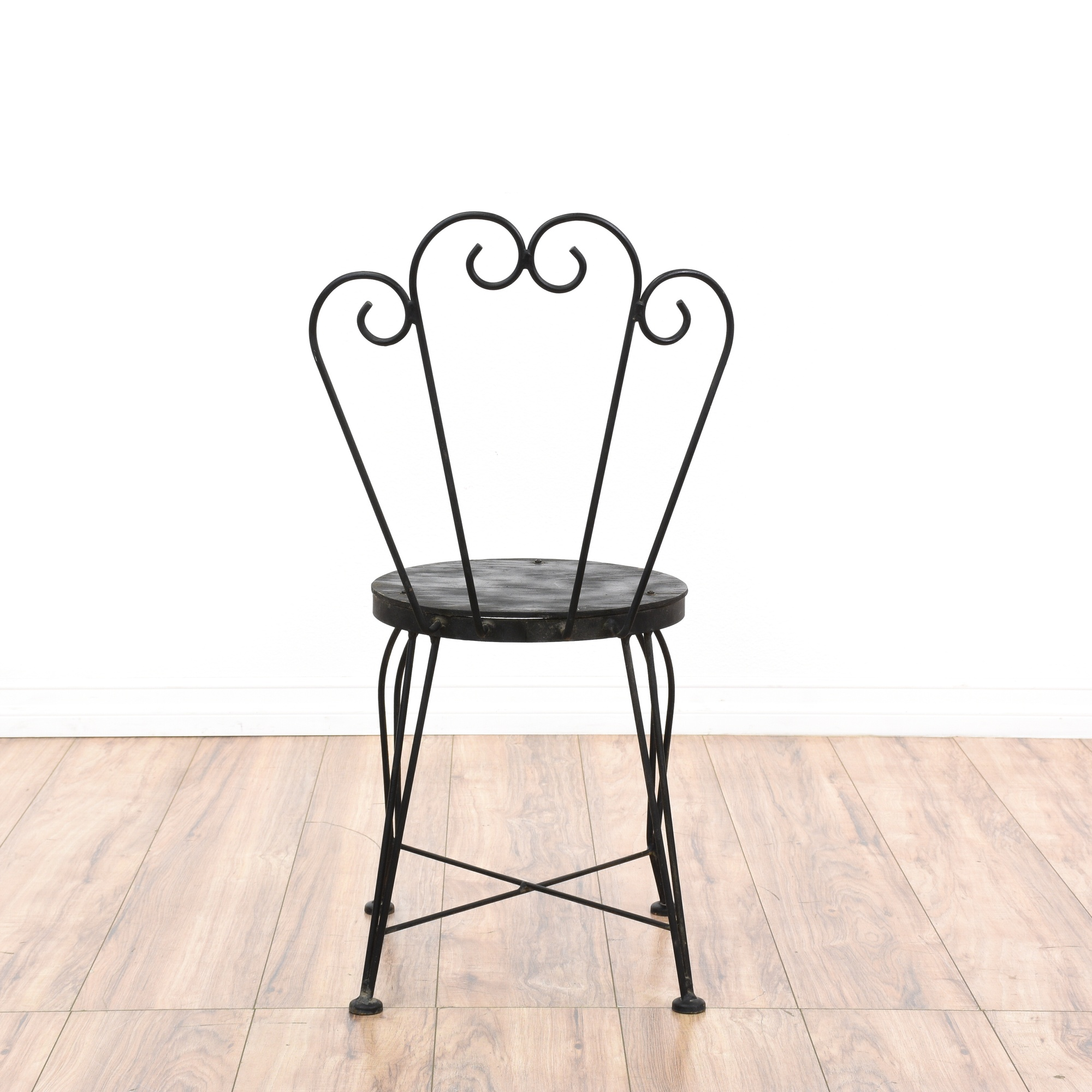 Pair of Black Metal Outdoor Cafe Chairs