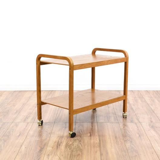 Rolling Light Oak Bookshelf Cart