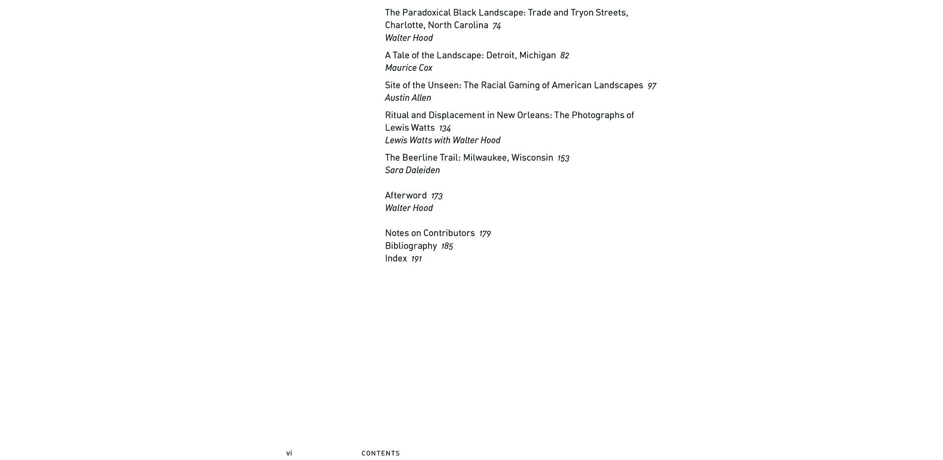Black Landscapes Matter, Table of Contents, second page