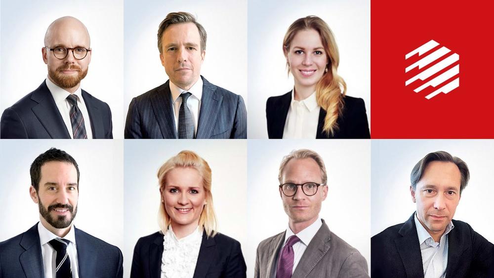 I bild, från vänster i övre raden: Mikael Mellberg, Jan Berg och Filippa Wallin.   Från vänster i nedre raden: Moritz Veller, Annika Andersson, Nils Lundgren och Alexander Tham.