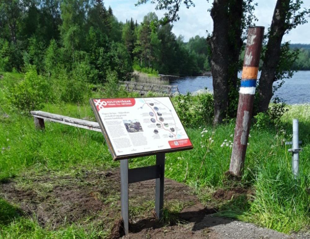 Informationsskylt som står vid sjö.