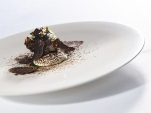 Hen of the Woods, Potato Emulsion and Rosemary served on Snipe Frost 22 cm plate
