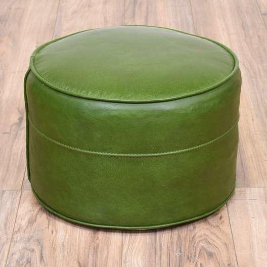 Round Green Vinyl Upholstered Ottoman