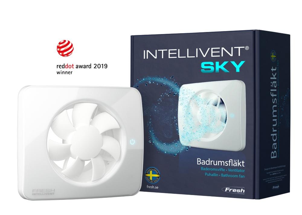 Fresh Intellivent SKY är en fläkt fullmatad med sinnrika sensorer. Intellivent SKY har vunnit det prestigefulla designpriset Red Dot Design Award 2019 i kategorin Product Design.