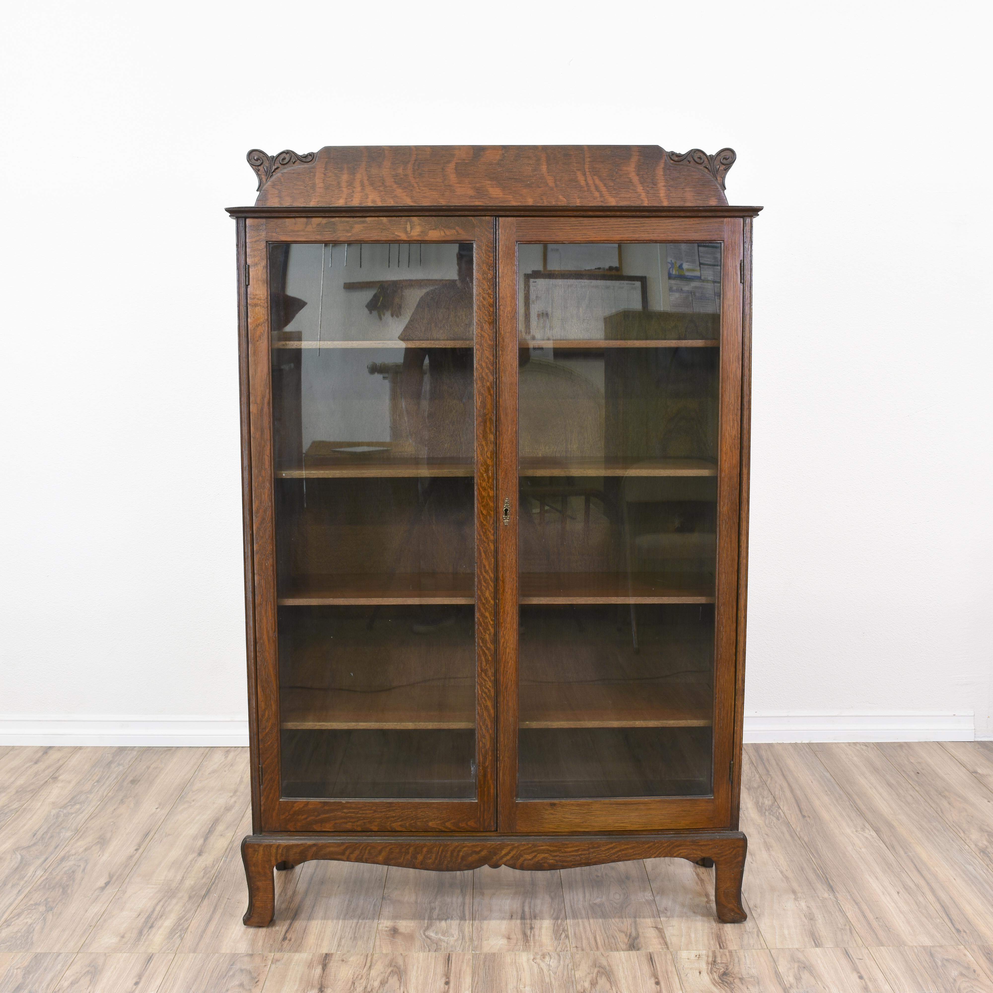 Antique Tiger Oak Glass Display Cabinet Bookcase Loveseat Vintage Furniture  San Diego Los Angeles. Antique