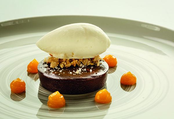 Dark chocolate, passion fruit, yogurt, almonds