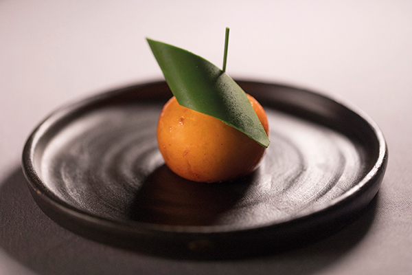 Easy peeler of sea buckthorn sorbet and white chocolate