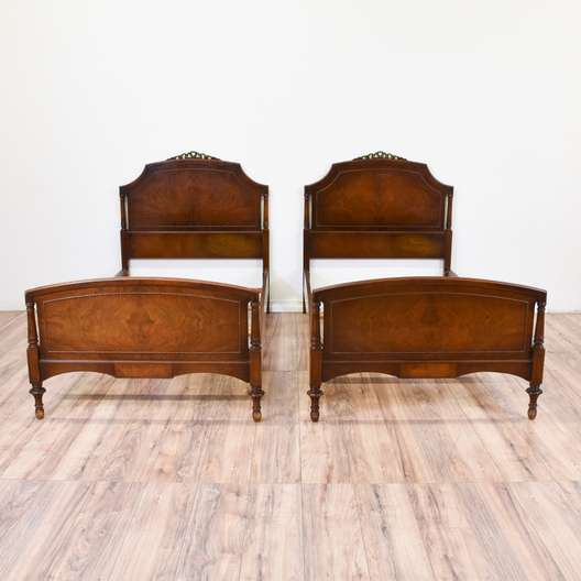 Pair of Antique Burl Wood Twin Sized Beds