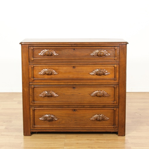 Victorian Carved Acorn Pull Chest Of Drawers Loveseat