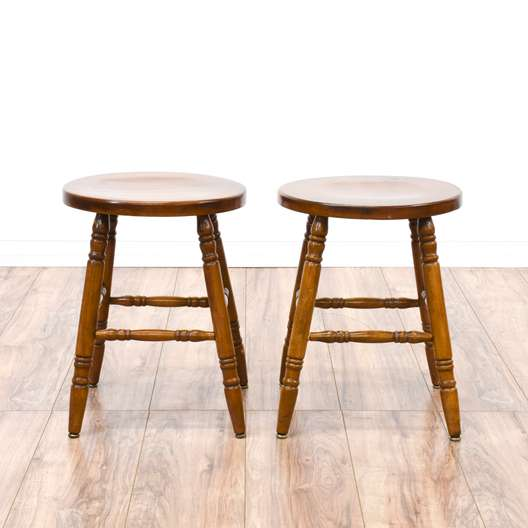 Pair of Country Chic Maple Stools