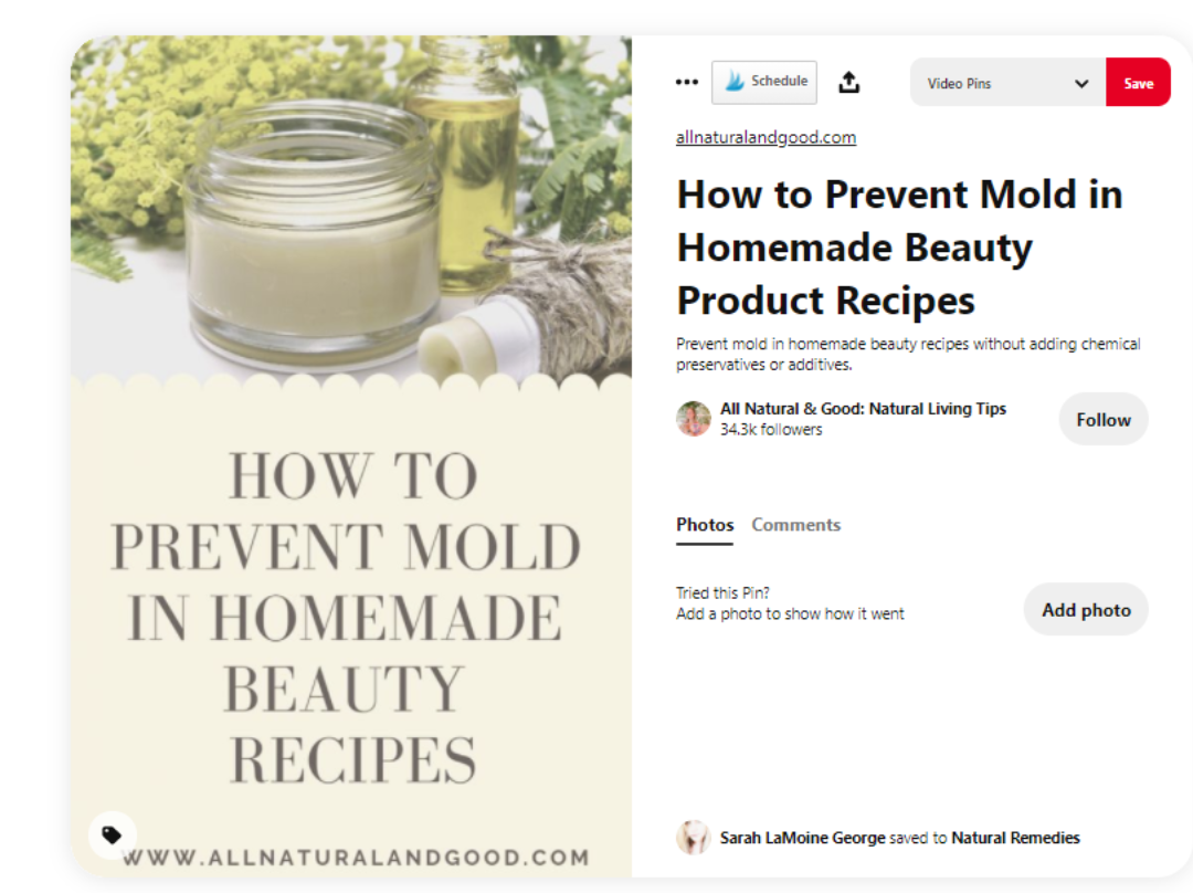 Pinterest pin for how to prevent mold growth in beauty products