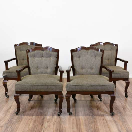 Set of 4 Rolling Tweed Accent Chairs