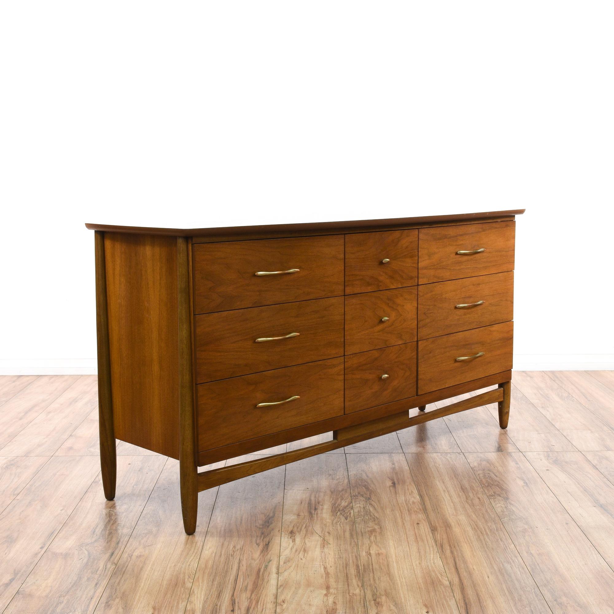 Mid Century Modern 9 Drawer Long Dresser | Loveseat ...