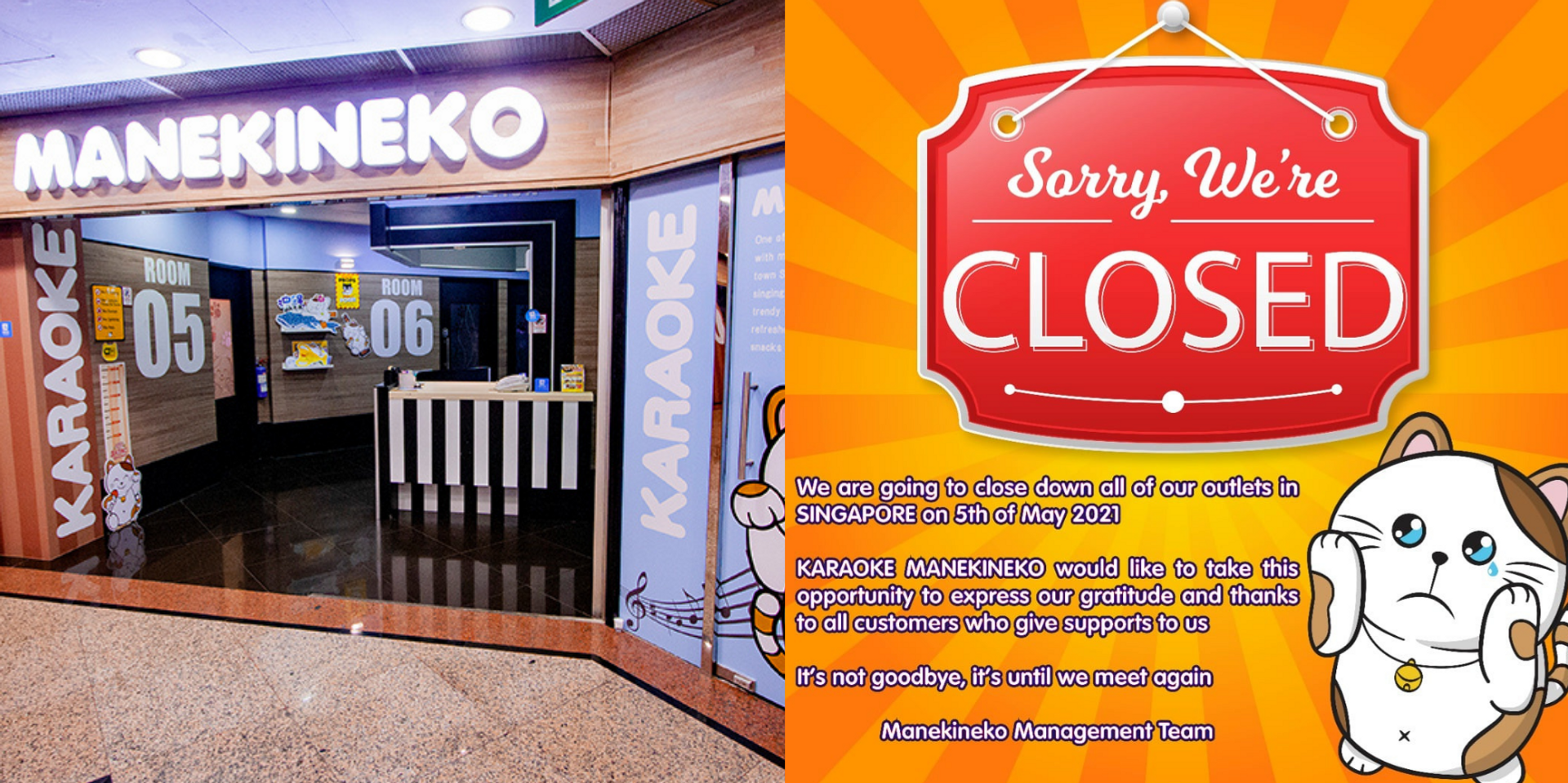 Karaoke Manekineko announces closure of Singapore outlets, sad customers recount fond memories of the KTV over the years