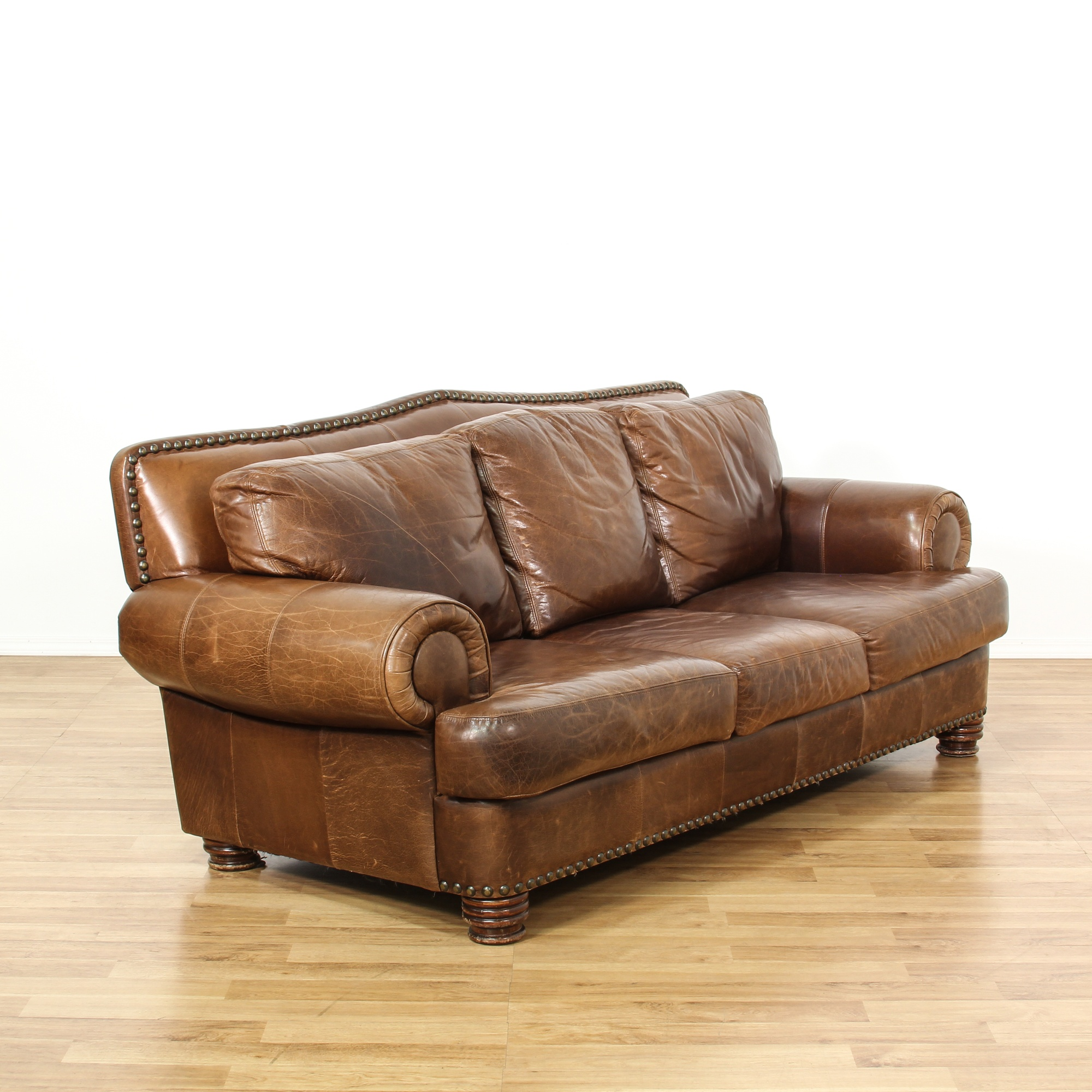 Ralph lauren style leather studded sofa loveseat vintage for Studded couch