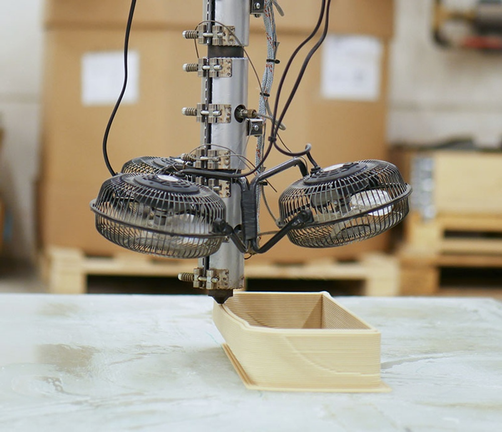 3D printing with the wood-based material biocomposite. Photo: Paper Province