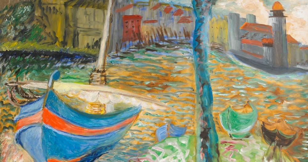 """Målningen """"Den blå båten, Collioure"""" av Sigrid Hjertén från 1934. Såldes på Stockholms Auktionsverk 2012 för 600 000 kronor. Det är 70 år sedan Sigrid Hjertén dog och vid årsskiftet blev hennes verk fria därför att använda."""