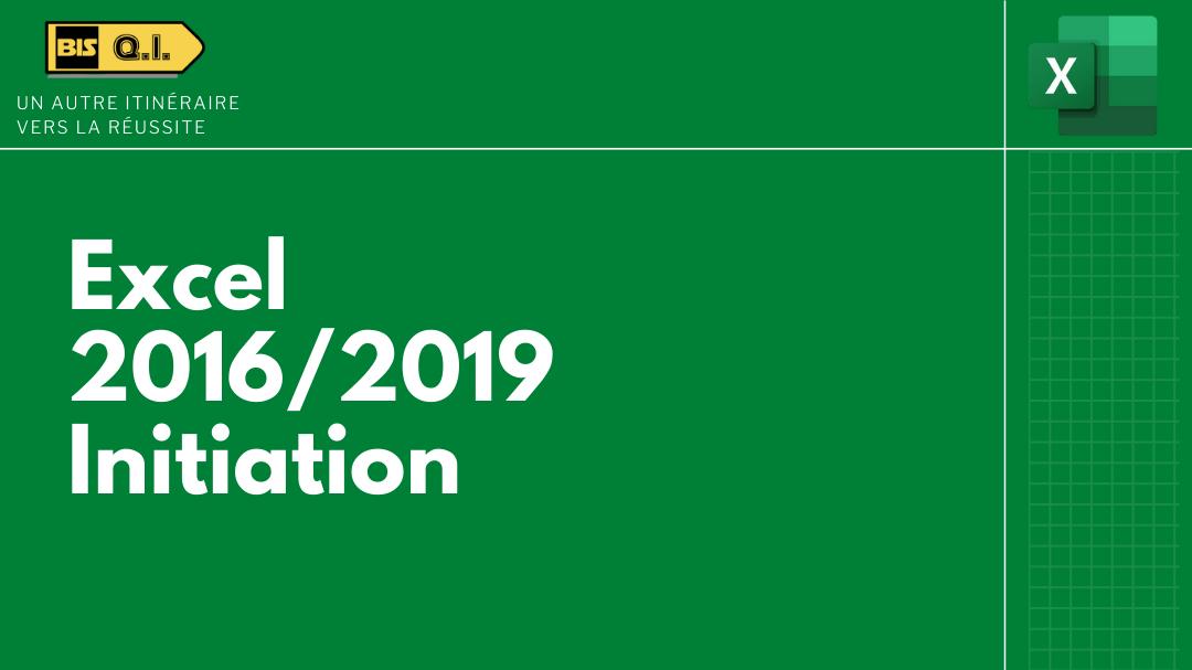 Représentation de la formation : Excel 2016/2019 - Initiation