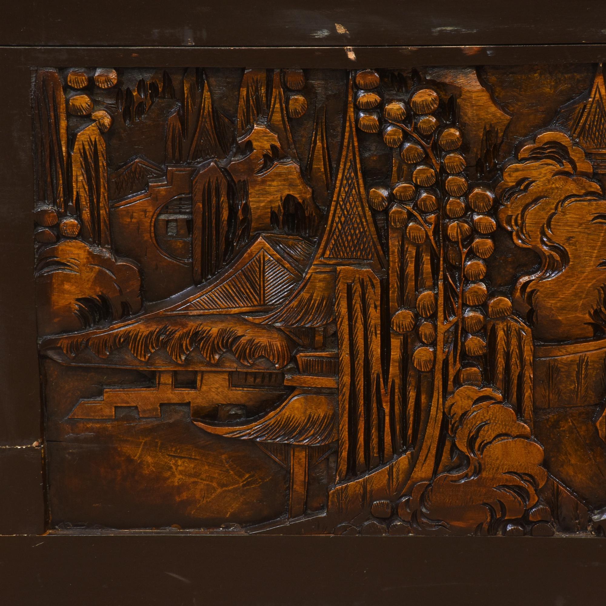 Chinese carved dark wood trunk loveseat vintage
