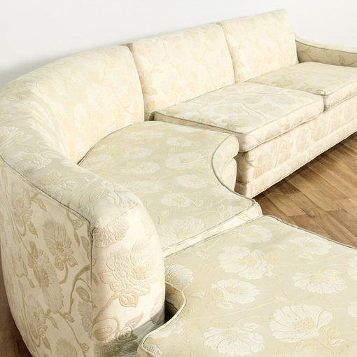 Cream Floral Curved 2 Piece Sectional Sofa