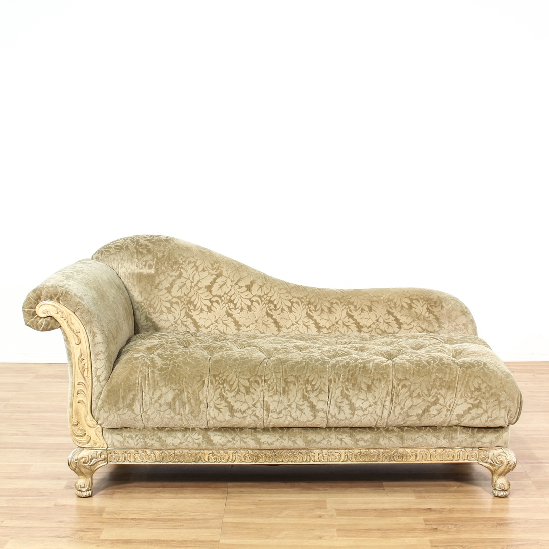 Carved cream tufted chaise lounge loveseat vintage for Carved chaise lounge
