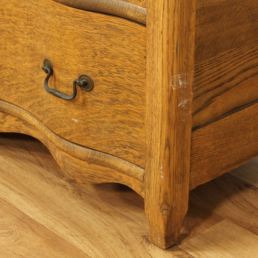 Antique Tiger Oak Serpentine Front Dresser Loveseat