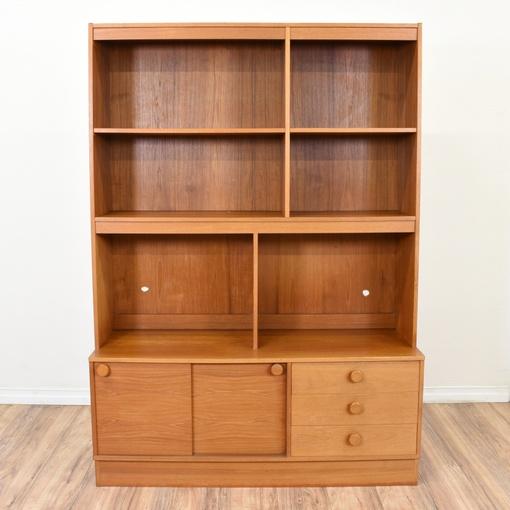 Danish Modern Tall Teak Bookcase Cabinet