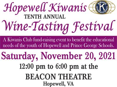 BT - Hopewell Kiwanis 10th Annual Wine Tasting Festival - November 20, 2021, 12pm-6pm