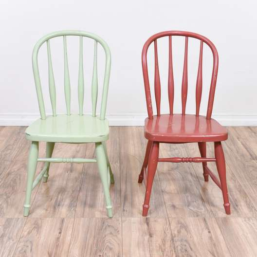 Pair of Red & Mint Painted Windsor Kids Chairs