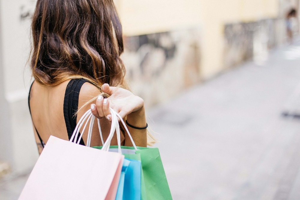 Single woman shopping