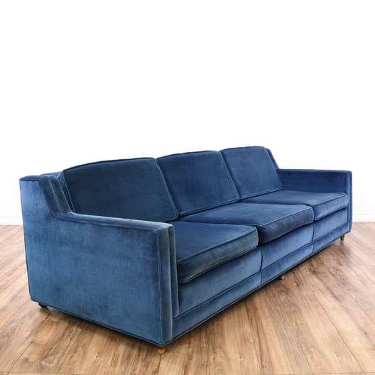 Mid Century Modern Navy Blue Velvet Sofa