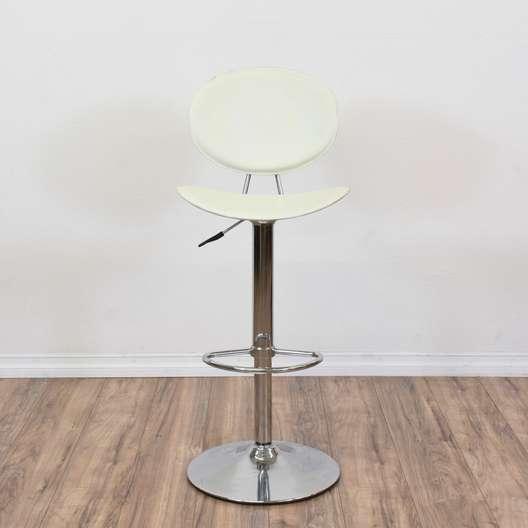 Contemporary White & Chrome Adjustable Barstool