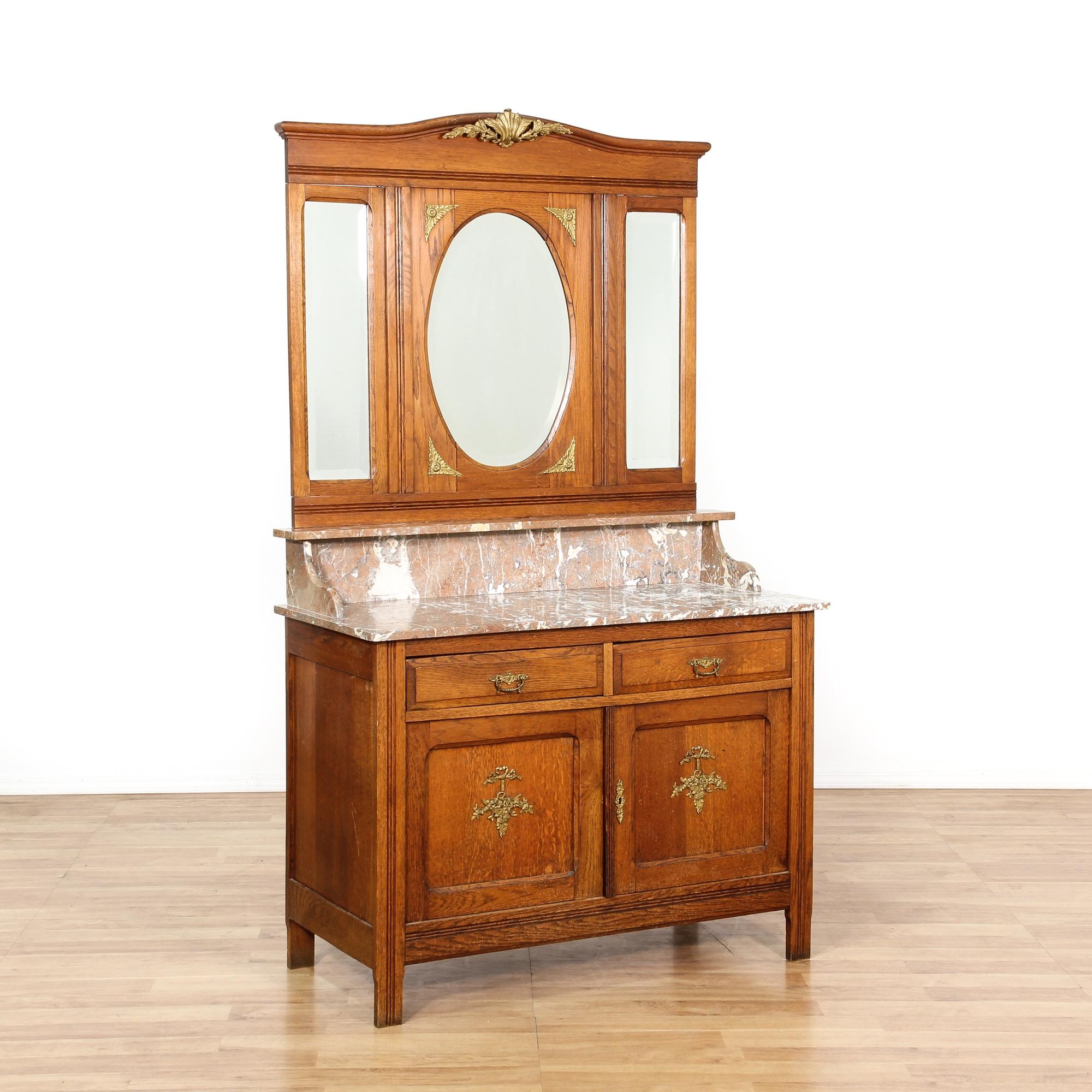 Antique Oak Marble Top Server Buffet w Mirrors